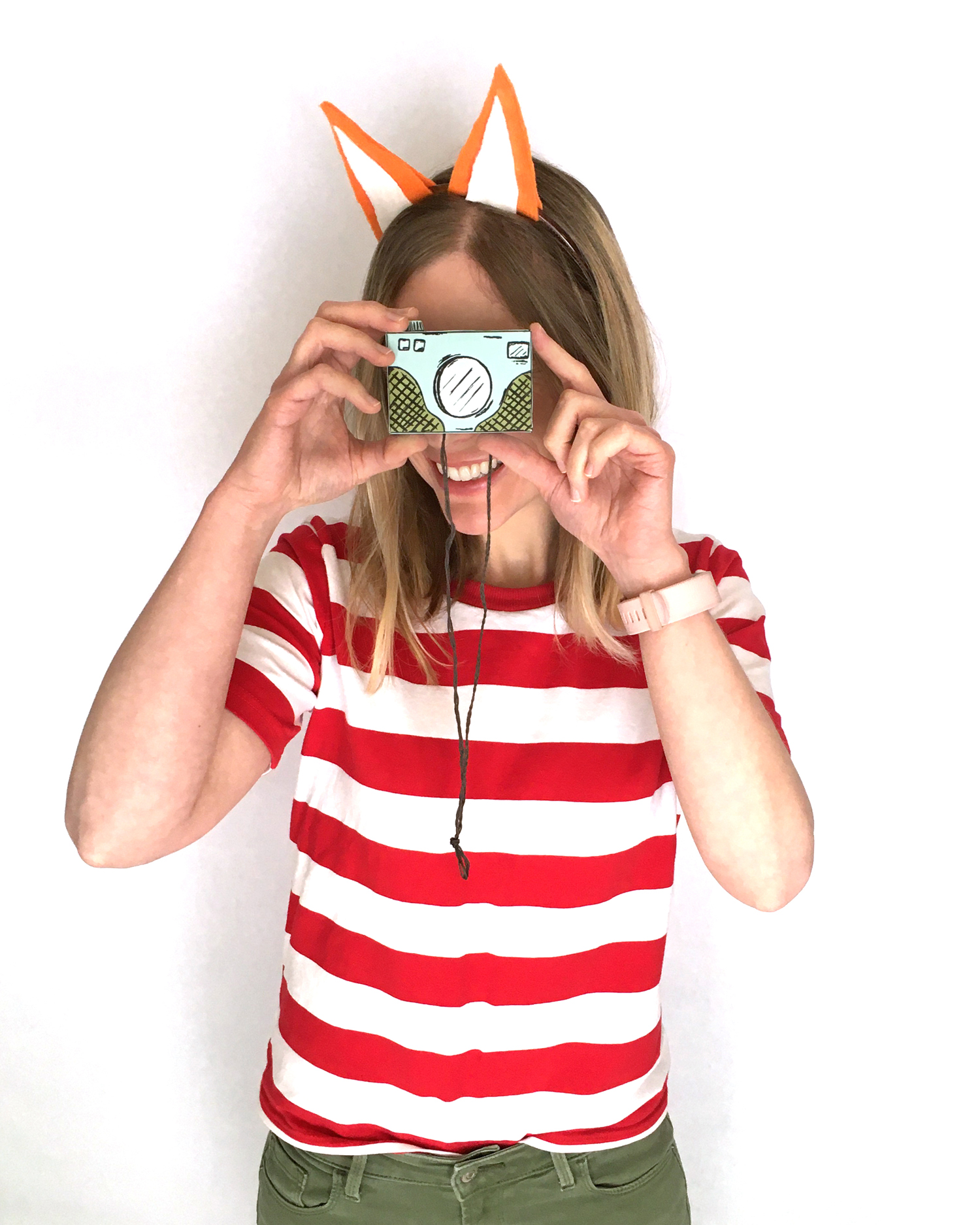 diy book character costume, homemade costume ideas, homemade halloween costume, easy last minute costume for halloween, for kids, for teachers, fox ears headband, paper camera