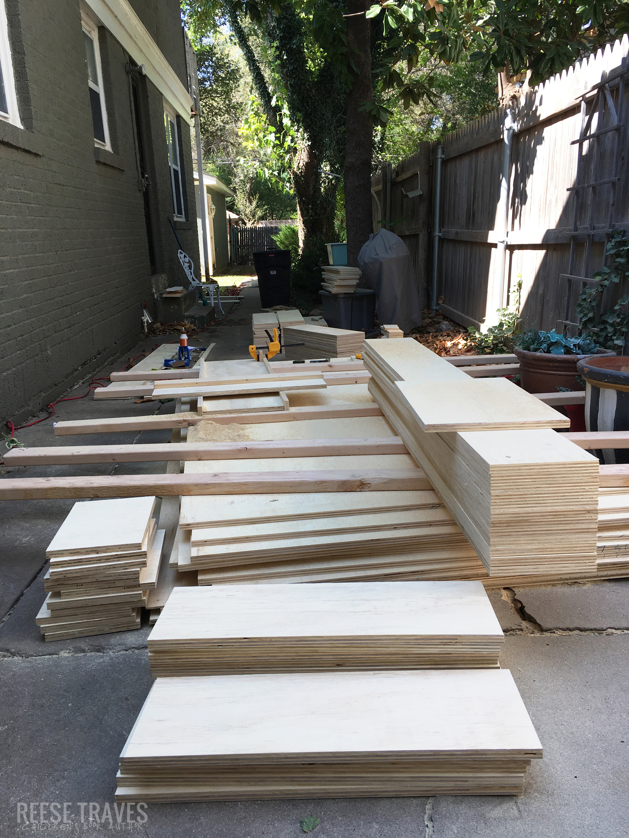 ripping and cross-cutting plywood for built-in bookshelves