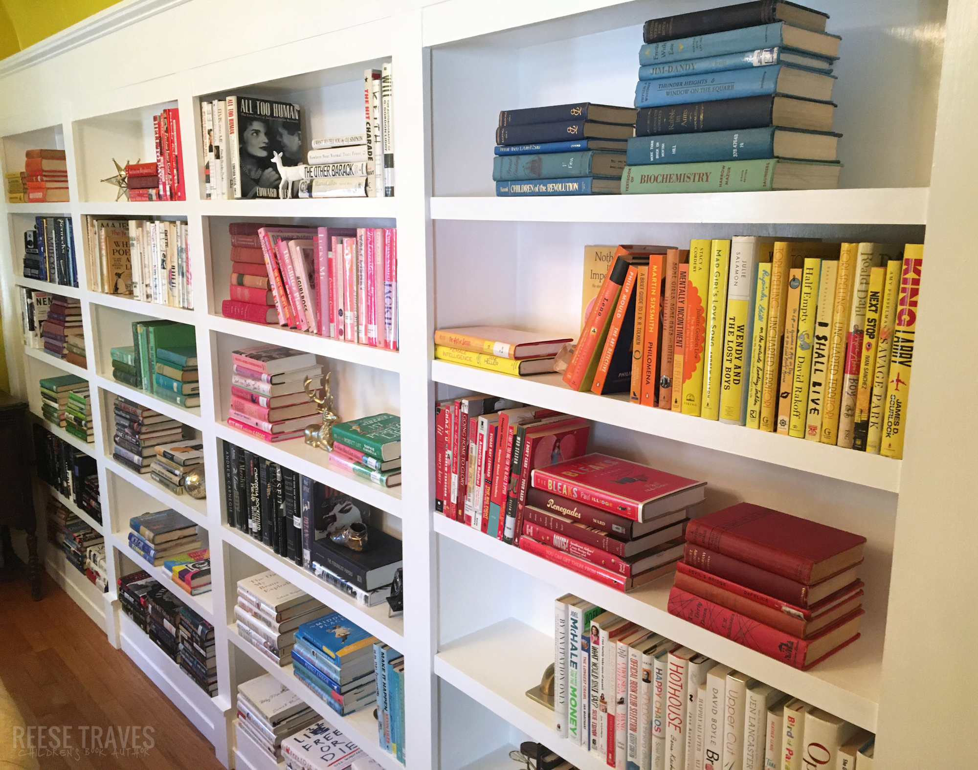 Rainbow colored book color blocked in bookshelves styling.