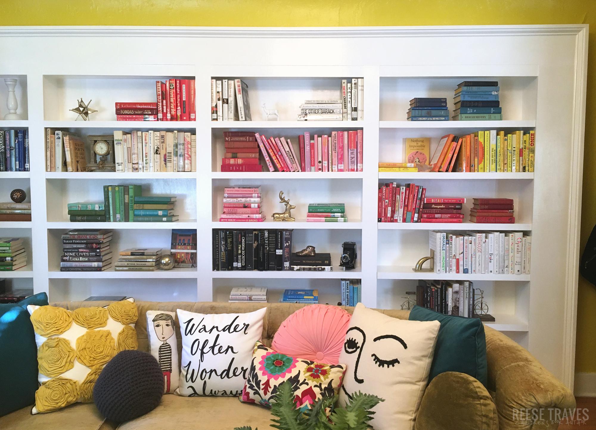 DIY built-in bookshelves that have a hidden bookcase door.