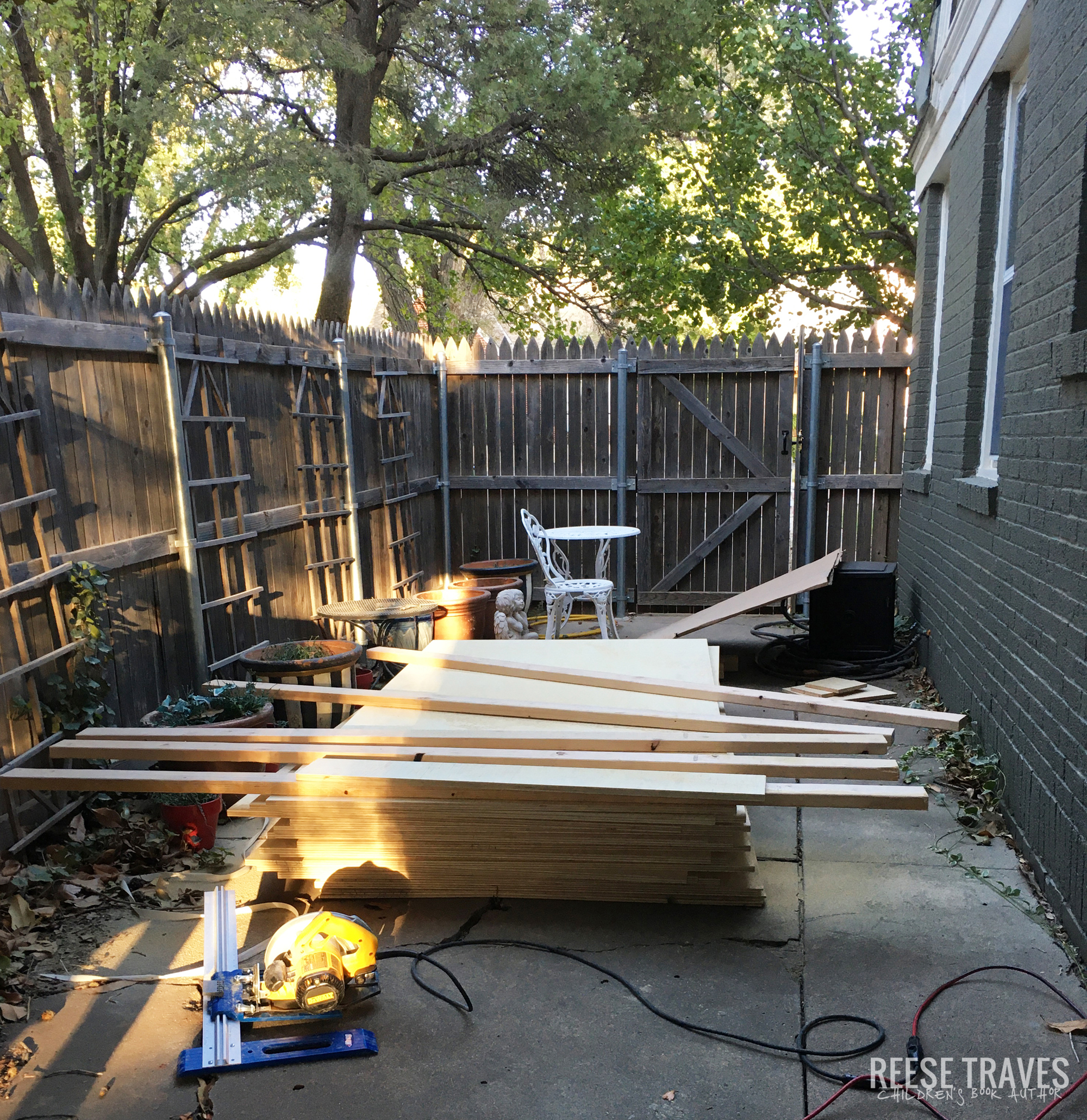 pallet of plywood to build built-in bookcases for diy project